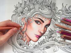 HOW I COLOR SKIN   Daydreams Coloring Book   Prismacolor Premier Colored...