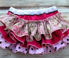 Valentines Day Pink Floral Rose Ruffle Bloomer Baby Ruffle Diaper Cover with Black & White Polka Dots Birthday Bloomers Newborn Toddler 6303.