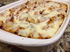 Baked Ziti ~ EASY dinner that my family really liked, especially my little brother, who went back for seconds.