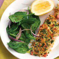Dijon mustard gives the topping a nice kick and balances the richness of the salmon fillets. Lemon juice in the spinach salad offers another bright note. This is it @angela7796  super yummy!