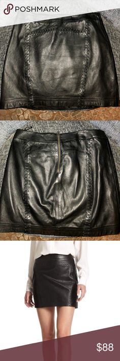 French Connection Genuine Leather Skirt 100% authentic leather - perfect condition. Tad big on me otherwise I would want to keep it! :) Goes with everything French Connection Skirts Mini