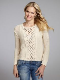 ivory cotton blend cable knit cutout long sleeve sweater