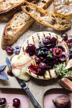 Honey, Thyme and Sweet Cherry Grilled Brie - The perfect, easy, last minute appetizer that everyone will love! From halfbakedharvest.com
