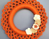 "10% SALE Crochet Wreath with Hazelnut Flowers, Decor, Holidays, Wall Hanging / Orange-15"""