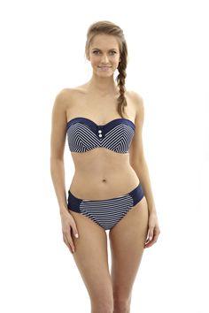 NEW Britt Stripe in Navy/White, bandeau bikini, D-G cup, AVAILABLE NOW http://www.panache-lingerie.com/en/products/details/panache-swim/britt/padded-bandeau-bikini/black-spot #panache #swim #bandeau #bikini #beachwear #swimwear #stripe #nautical