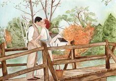 "This is a 8.5x11 inch watercolor painting of Anne Shirely and Gilbert Blythe from the Anne of Green Gables movies. This is the last scene in Anne of Avonlea, staring Megan Follows and Jonathon Crombie. ""I don't want diamond sunbursts, or marble halls. I just want you."""