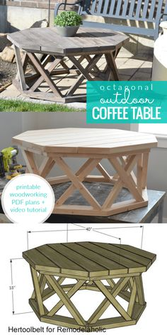 Build an octagon outdoor coffee table with lattice X legs. This woodworking plan is beginner friendly by simplifying the round coffee table shape and traditional interlocking farmhouse X legs into a hexagon table top and criss-cross legs.