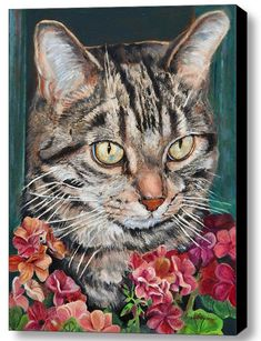 Custom Pet Portraits of Cats painted from your photos in a variety of styles and mediums www.portraits-by-nc.com #cats #pets #portraits