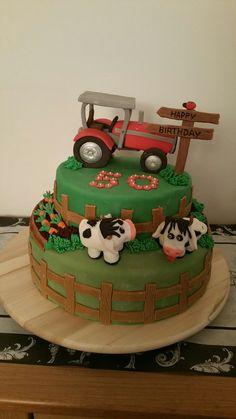 Farm Cake / Farm Cake Source by Farm Cake, Cake Recipes, Cake Decorating, Desserts, Food, Fondant Cakes, Bakken, Tractor Cakes, Farm Theme