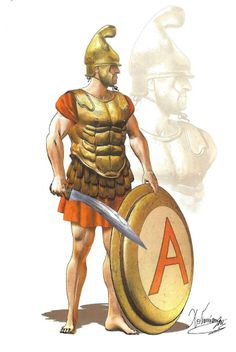 Athenian Hoplite (mid 4th century BC) - Phygian type helmet without crest  - Bronze muscle cuirass - Hoplon type shield with Alpha (for Athens) - Slashing sword (kopis)  Drawing by C.Giannopoulos for Periskopio Editions