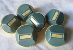 Set of 6 VINTAGE Teal Blue & French Ivory Celluloid by abandc