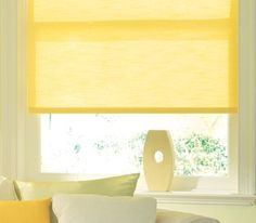 Yellow is a colour that is guaranteed to lift your mood and sense of purpose. Dimout blind from £50. Online at http://www.polesandblinds.com/antigua-sun-roller-blind-dim-out/ #interiordesign #colours