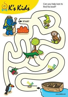 K's Kids Toys are designed for children's healthy development; Mazes For Kids Printable, Fun Worksheets For Kids, Printable Preschool Worksheets, Creative Activities For Kids, Toddler Learning Activities, Free Preschool, Kindergarten Worksheets, Preschool Activities, Teaching Kids