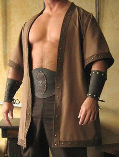 Medieval Celtic Viking Barbarian Short Sleeves Coat Vest Jacket