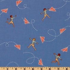 Michael Miller Children at Play Chasing Airplanes Blue - Discount Designer Fabric - Fabric.com