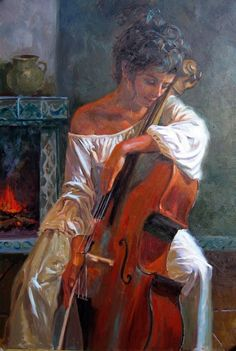 Title unknown [young woman and cello] -- artist may be Daniel F. Cello Kunst, Cello Art, Cello Music, Images Esthétiques, Renaissance Kunst, Music Painting, Beautiful Paintings, Female Art, Art Inspo