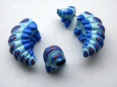 Blue Wonderland Caterpillar Fake Gauge Earring  Bug by Deceptions