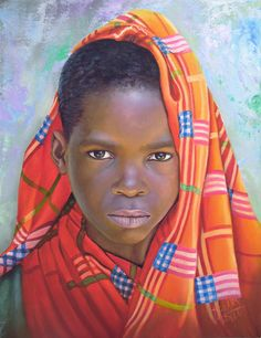 Nina de Africa by Dora Alis Mera. Dora  selected original compositions and recreates imagined scenic portraits in plasma on canvas while preserving the look of innocence. This time she presents a series of portraits of children belonging to different ethnic groups in Africa. The colour work is striking as the softness of the brush-strokes achieve significant realism without losing the magic of painting.