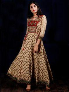 Beige Rust Green Black Hand Block Printed Long Cotton Kali Dress With Tassels - DS58F001