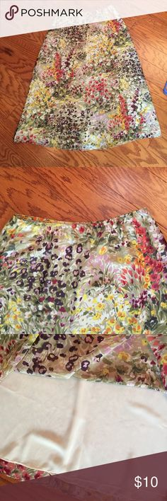 Cute Ankle Length Lined Flower Skirt EUC - no rip, stains or snags. Feels like polyester, fully lined. No tag, so unsure brand or size - fits like a M (8/10). Smoke-free home. Skirts A-Line or Full