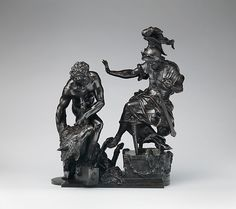 Hercules Delivering the Erymanthean Boar to Eurystheus Artist: François Lespingola (French, 1644–1705) Date: last quarter 17th century Culture: French, probably Paris Medium: Bronze Dimensions: Overall, maximum dims. (confirmed): H. 16 3/8 x W. 14 [edge of base to cuff of sleeve] x D. 11 1/4 in. [boar crest to boar hoof] (41.6 x 35.6 x 28.6 cm); Width of base: 12 3/4 in. (32.4 cm) Accession Number: 64.101.1486 MET
