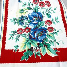 Vintage 1940s Red and Blue Floral . very similar to one of the Katie Alice crockery designs.