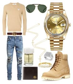 """Casual"" by pitbull8382 on Polyvore featuring Play Comme des Garçons, AMIRI, Gucci, Timberland, Rolex, Yves Saint Laurent and Marco Ta Moko"