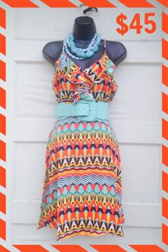 """Summer Fiesta Dress! $45. S-M-L  This just puts us in a """"Cancun"""" state of mind!!! — at Zinnias-2-Zebras."""