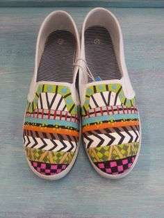 Fun  Funky Hand Painted Striped Decorated Womens Canvas Flats Canvas Shoes (Slip On Vans Style)