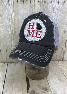 7493b1813f6 Georgia Home Embroidered Grey and White Arrows Raggy Patch Distressed Black  and Grey Trucker Hat or