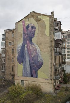 Aryz just returned from Ukraine where he worked a few days on the lovely streets of Kiev in order to beautify the neighborhood.