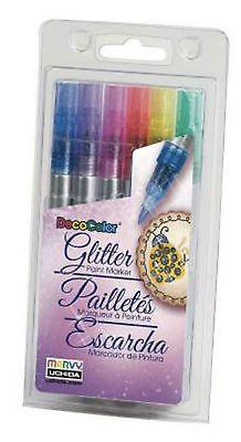 Marvy Uchida DecoColor Glitter Fine Tip Oil Based Paint Markers Set of 6