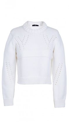 32a133e4c63570 Tibi Pointelle Cropped Pullover is a refresh of your tried-and-true cable-