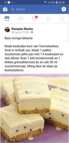 Vinnige Tert - World Cuisine Audition Tart Recipes, Cheesecake Recipes, Sweet Recipes, Cookie Recipes, Dessert Recipes, Pudding Desserts, Kos, South African Recipes, South African Food