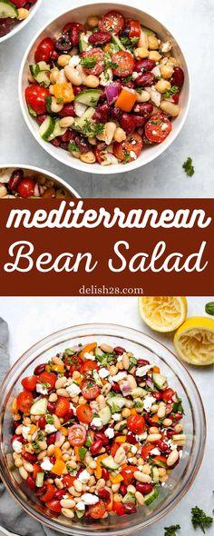 Bean Salad Recipes, Healthy Salad Recipes, Delicious Recipes, Vegetarian Recipes, Healthy Side Dishes, Healthy Sides, Beef Stew Ingredients, Easy Mediterranean Diet Recipes, Mediterranean Dishes