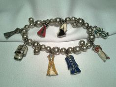 Vintage Silver Bead Ladies Red Blue Green Enameld Charm Stretch Dress Bracelet #Unbranded #Bangle