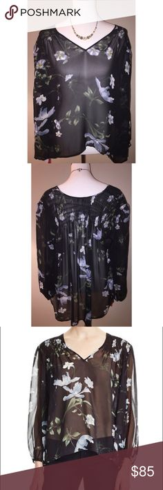 Joie $85 NWT Kanni Floral Silk Blouse V-neck, smocked shoulders and back yoke  Bracelet sleeves, elasticized cuffs  Sheer, allover floral print, high/low hem  Silk  Dry clean  Imported Joie Tops Blouses