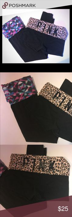 Victoria's Secret Yoga Leggings & Shorts Bundle Size medium! Both have no rips or stains. In good condition, just had some color fading but still look great! PINK Victoria's Secret Pants Leggings