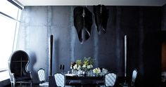 Avia black by Zaha Hadid for Gothic Glam Loft at The Ritz-Carlton Residences, Los Angeles, CA. Project by BAM Design Lab. Craftsman Furniture, Black Rooms, Interior Architecture, Interior Design, Urban Loft, Dark Interiors, Eclectic Decor, Decoration, Living Spaces