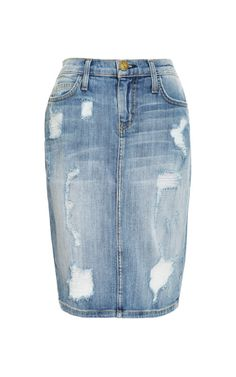 Shop Stiletto Distressed Denim Skirt by Current/elliott Now Available on Moda Operandi