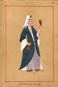 Armenian woman. The 'Rålamb Costume Book' is a small volume containing 121 miniatures in Indian ink with gouache and some gilding, displaying Turkish officials, occupations and folk types. They were acquired in Constantinople in 1657-58 by Claes Rålamb who led a Swedish embassy to the Sublime Porte, and arrived in the Swedish Royal Library / Manuscript Department in 1886.
