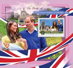 Post stamp Maldives MLD b The birth of Princess Charlotte of Cambridge (Catherine, Duchess of Cambridge, Prince William, Duke of Cambridge) Duke Of Cambridge, Princess Charlotte, Prince William, Maldives, Postage Stamps, Birth, The Maldives, Prince Will, Stamps