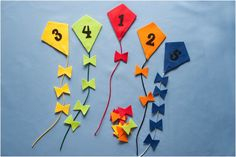 Counting and Colour Sorting Kites Felt Board Magic