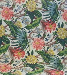 Vintage BARKCLOTH Textile Fabric TROPICAL Floral Motif 2 1/4 Yards from evelynnesoldiesbutgoodies on Ruby Lane