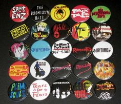 New Wave ... how I love the '80s! #music #pins #buttons #newwave #bands
