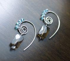 """Nautilus"" - Smoky Quartz Apatite Spiral Wire Wrapped Strling Silver Earrings by Moss & Mist Jewelry | by Moss & Mist Jewelry"