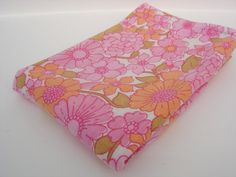 Retro Floral Marigolds and Flowers Pillow by RaggleTaggleHawker, £7.49  #vintage #retro #bedding #pink #orange #homedecor