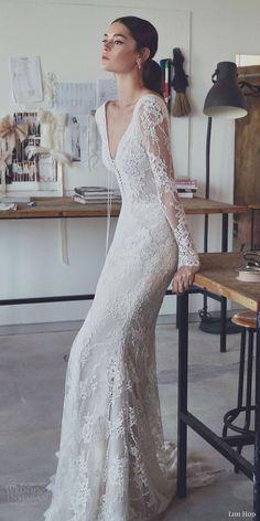 lihi hod 2017 bridal long sleeves v neck full embellishment beautiful elegant romantic trumpet mermaid wedding dress v low back sweep train (zoe) zv