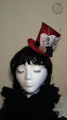 Red Steampunk Mini Top Hat Alice in Wonderland by A1GothCreations