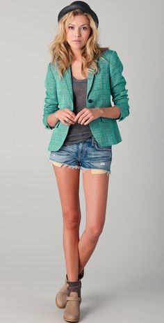 blazer+denim short